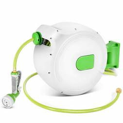 100' Retractable Water Garden Hose Reel Auto Wall Mounted  W