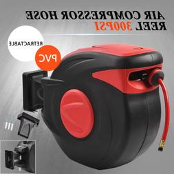 """3/8"""" X 100' 300PSI Retractable Air Compressor Hose Reel Auto"""