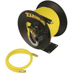 "DEWALT 3/8"" X 50' AIR HOSE REEL RUBBER BRASS WALL MOUNT FLEX"