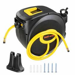 "3/8"" X 50' Retractable Air Hose Reel Auto Compressor Rubber"