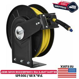"""3/8"""" x 50FT Retractable Auto Rewind Air Compressor Hose Reel"""