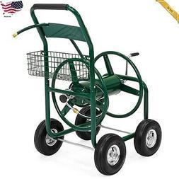 300ft Water Hose Reel Cart Basket Outdoor Garden Heavy Duty