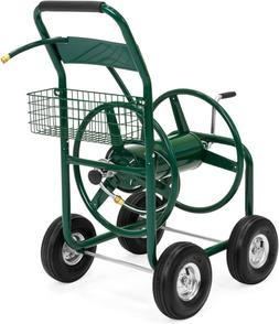 300ft Water Hose Reel Cart w/Basket for Outdoor Garden, Heav