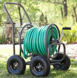 4-Wheel Hose Cart Pneumatic Tires Storage Reel Farm Commerci