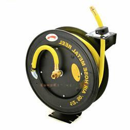 """50FT X 1/2"""" Rubber Retractable Air Hose Reel Auto Rewind Aut"""