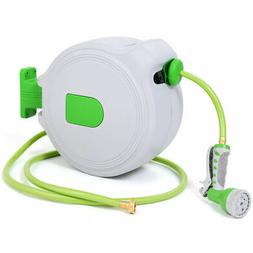 65' Retractable Water Garden Hose Reel Auto Wall Mounted  W/