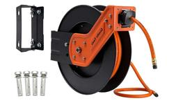 Klutch Auto Rewind Air Hose Reel - With 1/2in. x 50ft. Rubbe