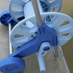 Empty Water Hoses Blue Metal Reels Garden Wall Mount Cart St