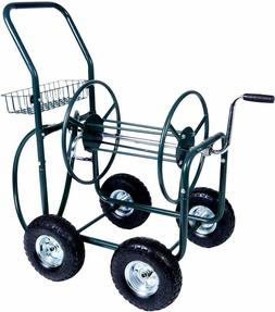Garden Hose Reel Cart 4 Wheels with Storage Basket Water Hos