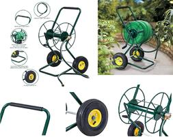 Garden Water Hose Reel 2 Wheeled Cart Steel Frame 200 feet o