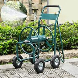 go2buy Heavy Duty Garden Hose Reel Cart with Wheels 300ft Wa