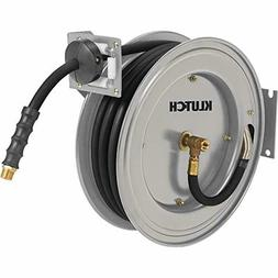 Klutch Auto Rewind Air Hose Reel - With 3/8in. x 50ft. Rubbe