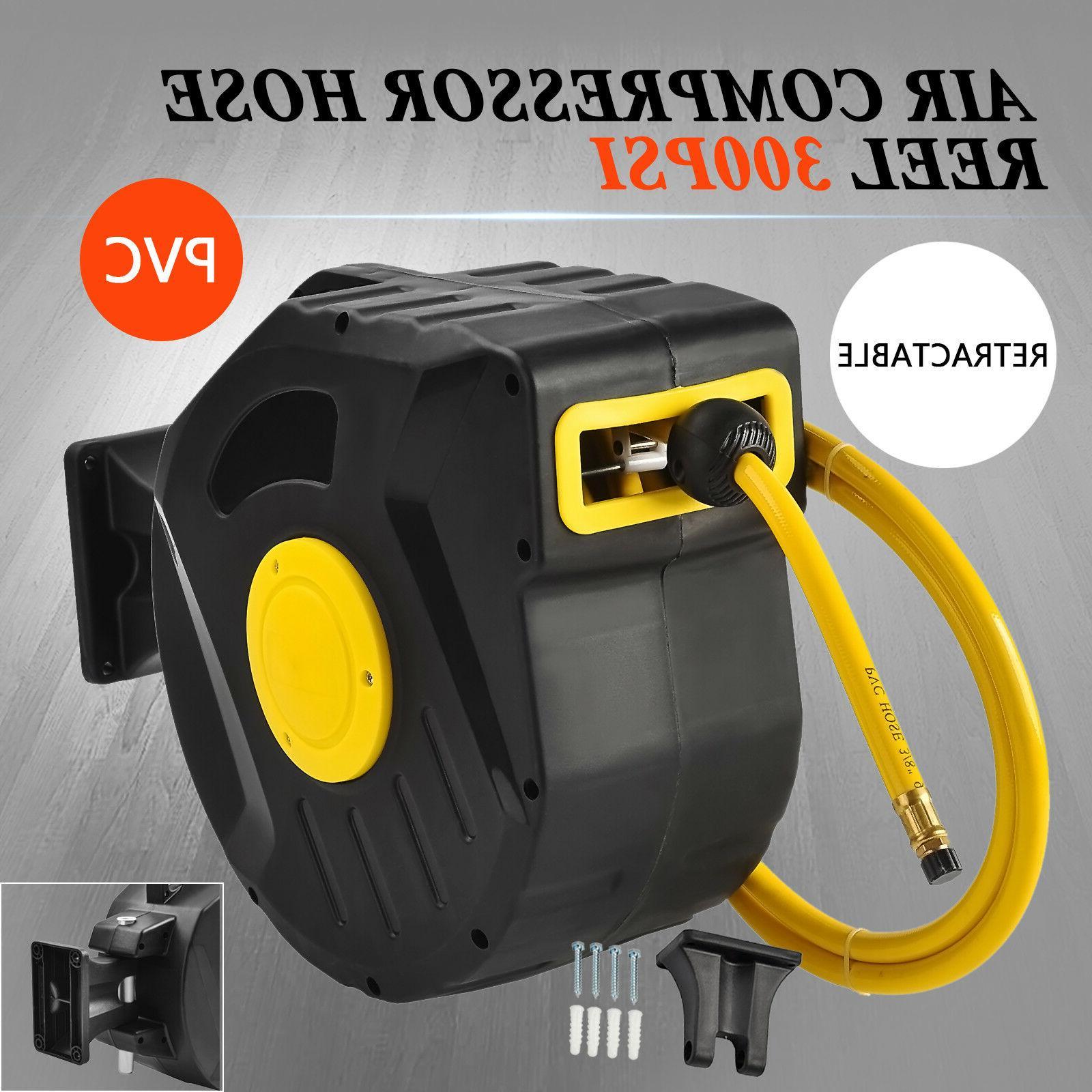 """3/8"""" X 50' 300PSI Retractable Air Compressor Hose Reel Auto"""