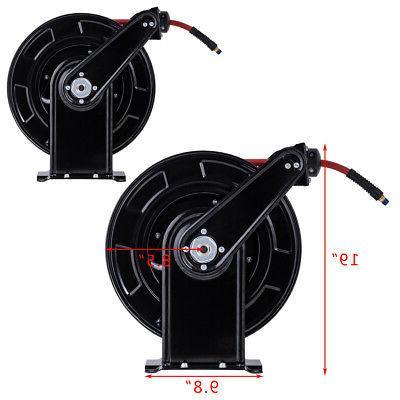 "3/8"" 65' Rewind Retractable Air Hose Reel 300 Rubber Hose Duty"