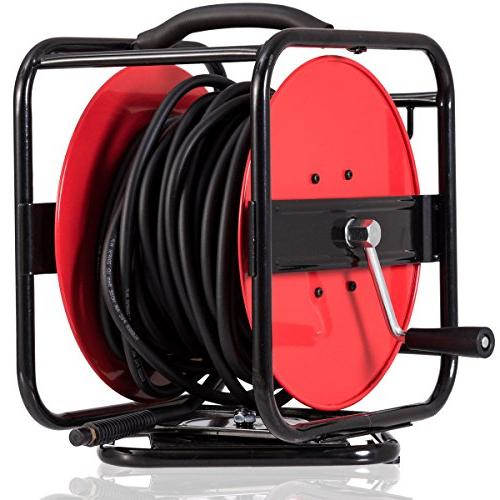 Hybrid Hose 300PSI Goplus Air Hose Reel Hand Crank Retractable 5//16in by 100ft Hose Metal Construction