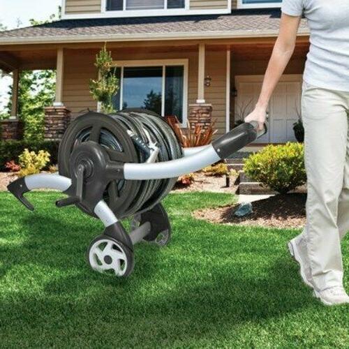 Cart Hose Reel Aluminum Garden Lightweight Durable Elliptical
