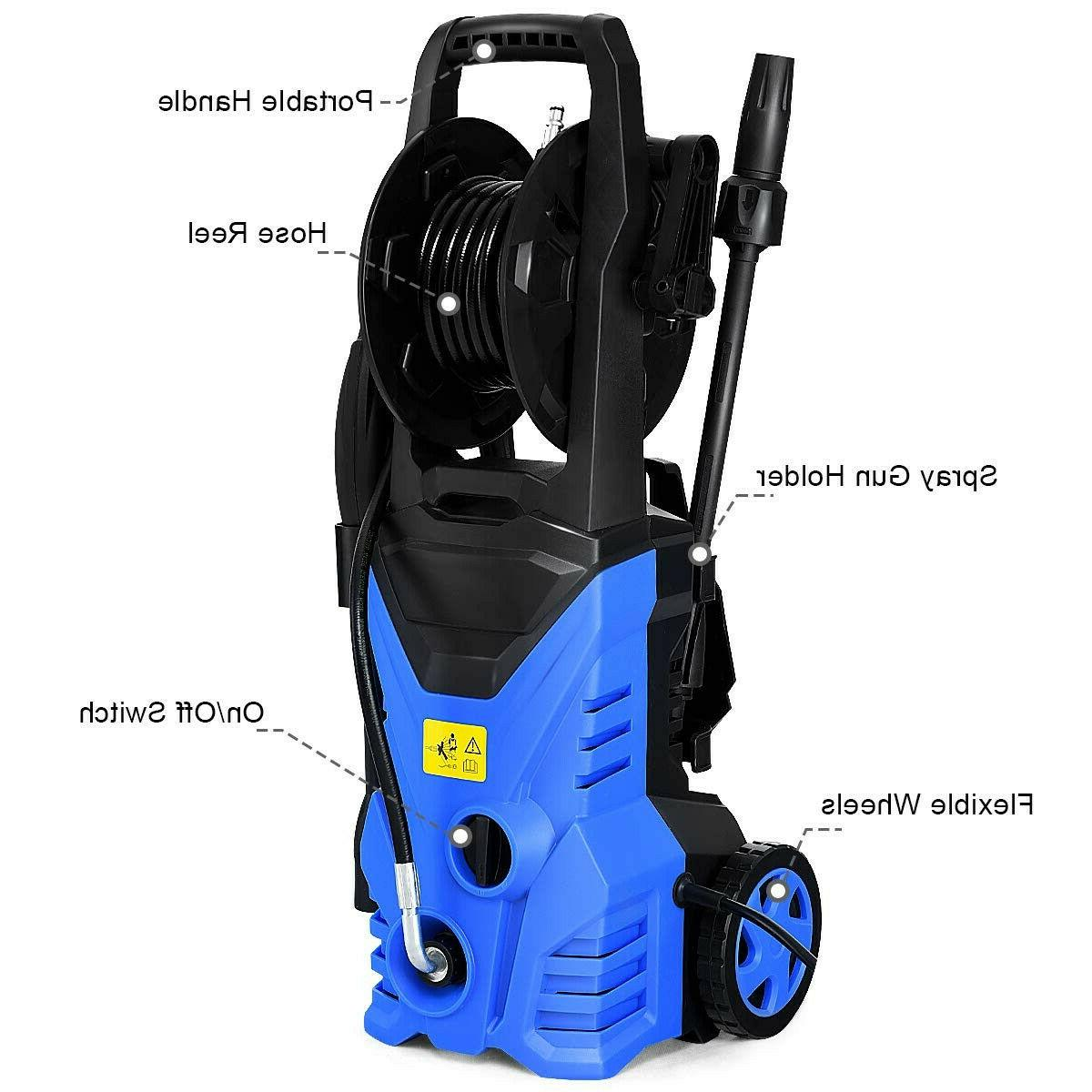 1800W 2030 PSI Pressure Washer With Hose Reel