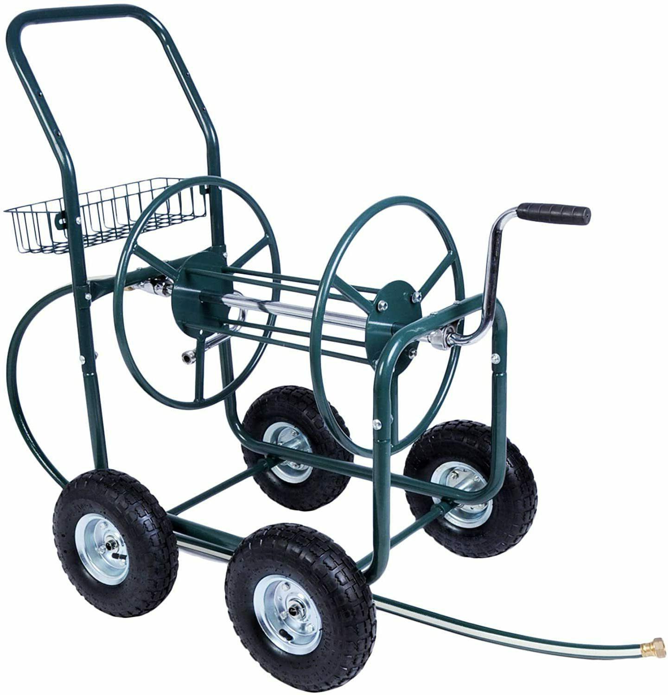 VILOBOS Garden Metal Hose Reel Cart Storage Basket Yard Gard