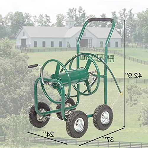 BestMassage Water Reel Cart with Heavy 300FT Hose Yard Water