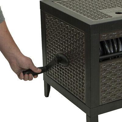Hideaway 100 Ft Hose Storage Wicker Metal