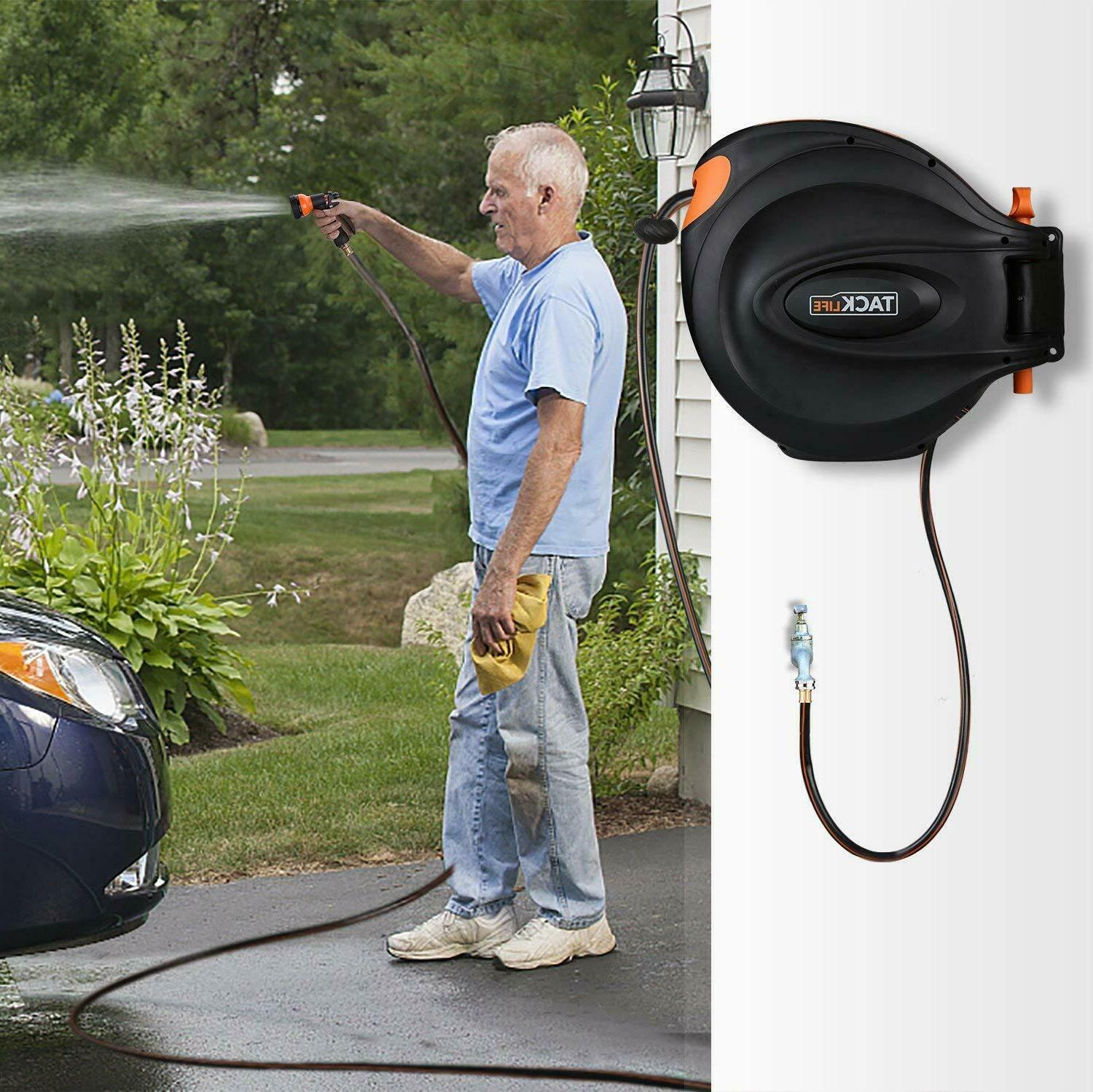 TACKLIFE 65+7 FT Retractable Garden Reel/Include 8