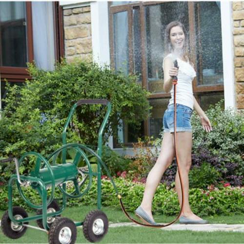 Hose Reel Cart 300' Garden Water Outdoor Duty W/Basket