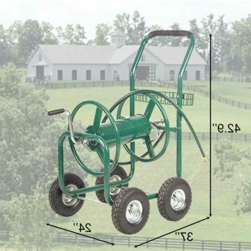 Hose Reel Cart Garden Outdoor Duty W/Basket