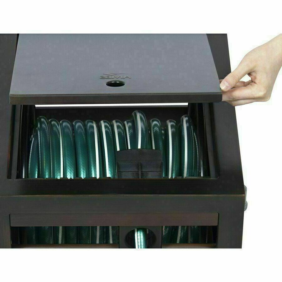NeverLeak Steel 150-ft Hose Reel Hideaway Storage Cabinet Ga