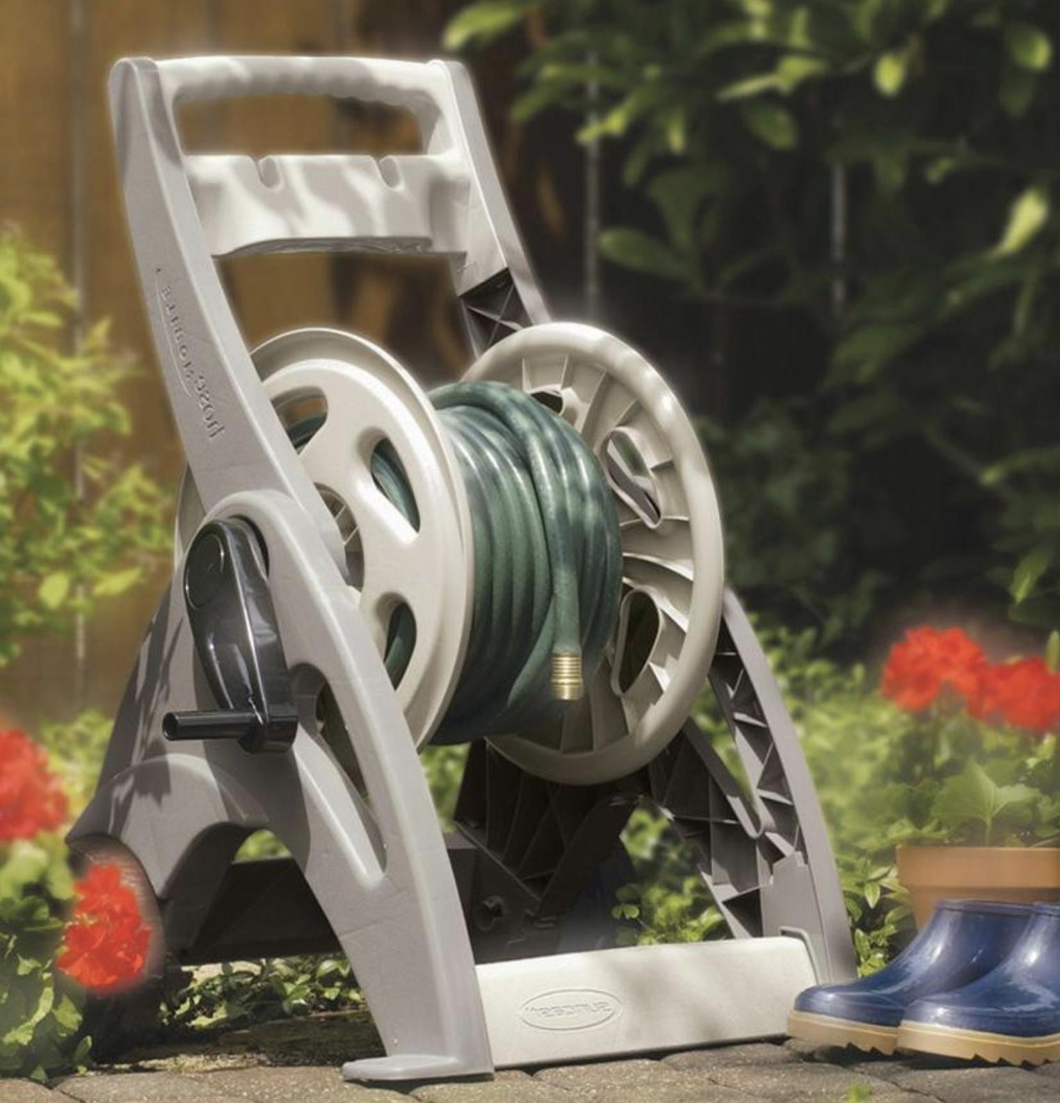 portable garden water hose reel cart mobile