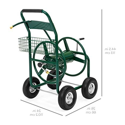 Water Hose Reel w/Basket Outdoor Garden, Heavy Yard Water Planting