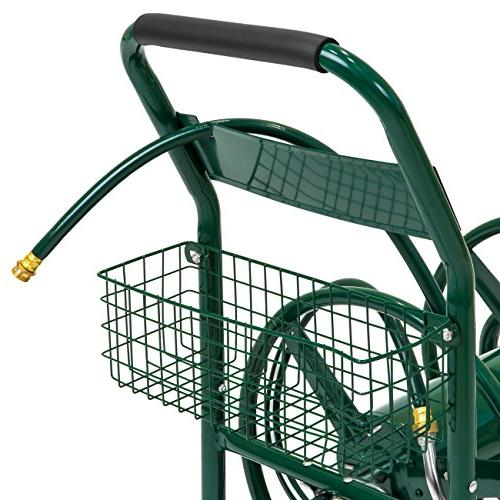 Best Products 300ft Water Cart w/Basket Garden, Heavy Yard Planting - Green