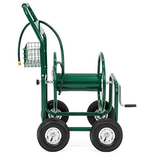 Best Products Water Hose Cart w/Basket Outdoor Heavy Duty Yard Water Planting -