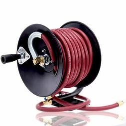 "Manual Air Hose Reel Hand Crank with 3/8"" x 50ft Rubber Air"