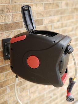 GARTENKRAFT Plastic Wall Mounted Hose Reel with Automatic Re