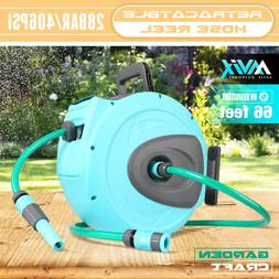 Retractable Garden Hose Reel| 66ft| 2pcs Adjustable Spray No