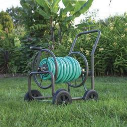 Rolling Hose Reel Cart Steel Frame Garden Storage Rack on Wh