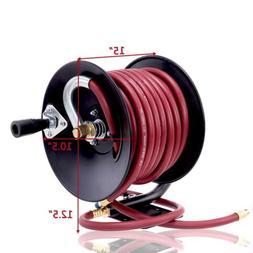 """Rubber Air Hose Reel Hand Crank Air Hose Compressor 3/8"""" x 5"""