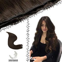 RUNATURE Sew in Hair Color 2 Darkest Brown Human Hair Extens
