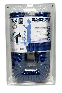 Plastair Spring Hose with Blue Nozzle 50ft Garden Hose, New