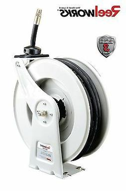 REELWORKS Spring Rewind Oil Hose Reel with  1/2 inch X 50 ft