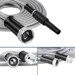 Stainless Steel Metal Garden Hose Water Pipe 25/50/75/100FT