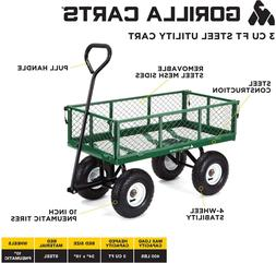Gorilla Carts GOR400-COM Steel Garden Cart with Removable Si