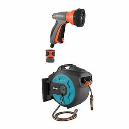 Gardena Wall Mnt Automatic Hose 82Ft Reel Box w/ Gardena 7-i