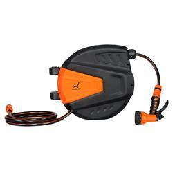 Wall Mount Garden Hose Reel Retractable 9 Adjustable Sprayer