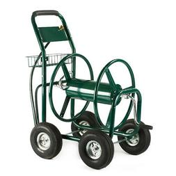 Green Water Hose Reel Cart 300 FT Outdoor Garden Heavy Duty