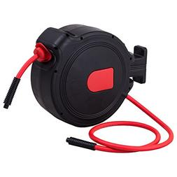 "3/8"" X 50' Retractable Air Hose Reel 1/4"" Inlet 300PSI Auto"