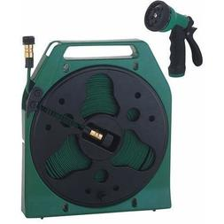 Mintcraft Yp1121 Fifty  Foot Flat Hose Reel With Nozzle And